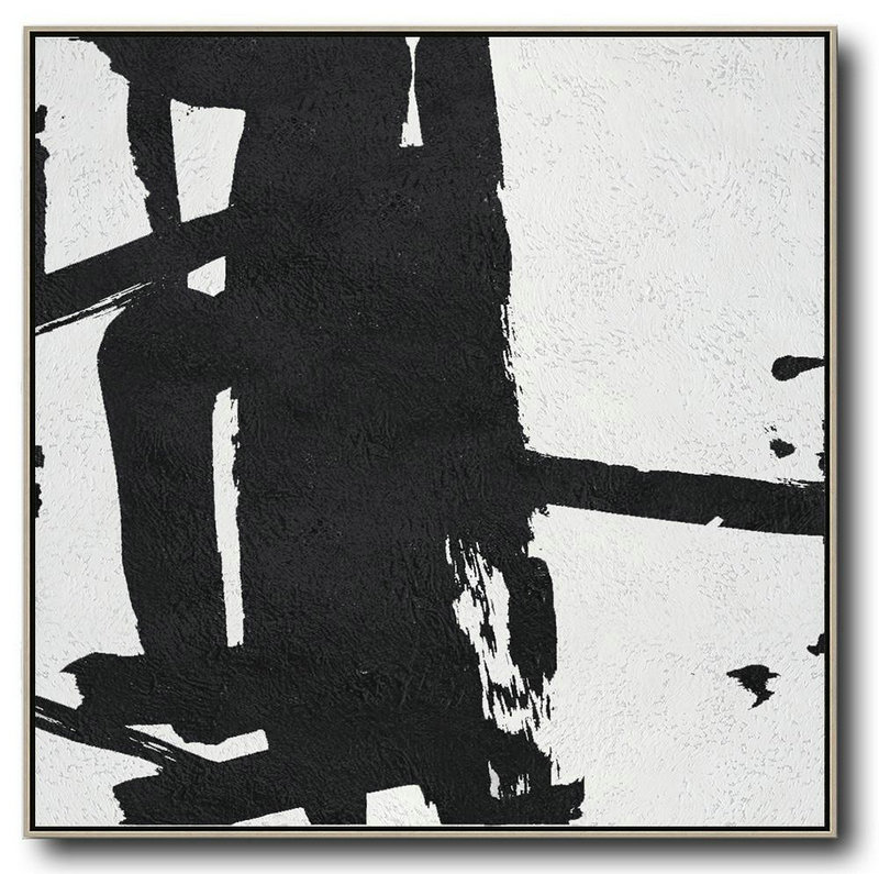 Oversized Minimal Black And White Painting,Modern Paintings #I0R8