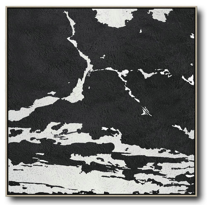 Oversized Minimal Black And White Painting,Modern Art #A0L5