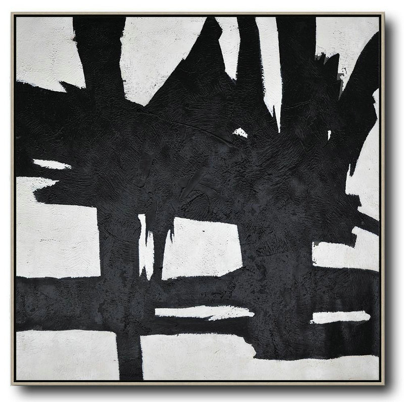Oversized Minimal Black And White Painting,Large Abstract Wall Art #W7C6