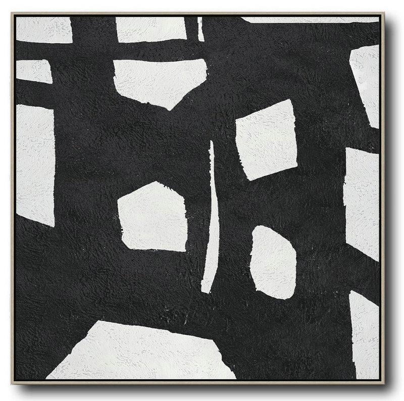 Oversized Minimal Black And White Painting,Canvas Paintings For Sale #W7W7