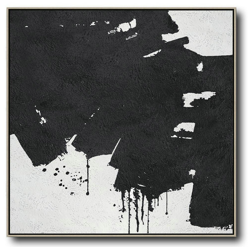 Oversized Minimal Black And White Painting,Large Living Room Wall Decor #K8T2