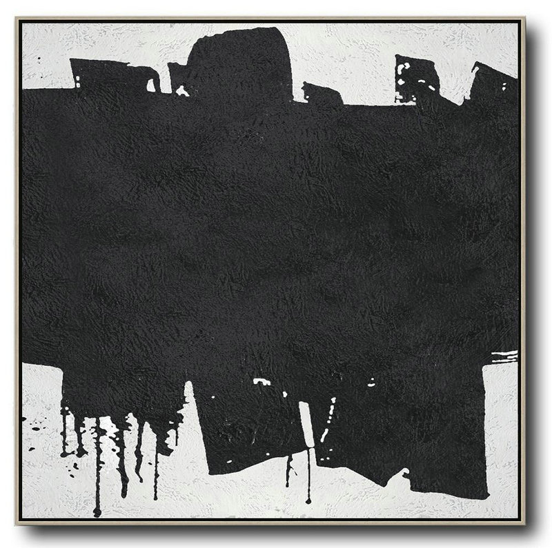 Oversized Minimal Black And White Painting,Colorful Wall Art #E7C3
