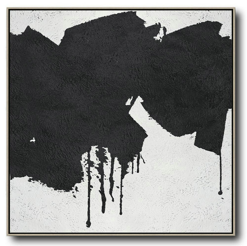 Oversized Minimal Black And White Painting,Home Canvas Wall Art #C1T6