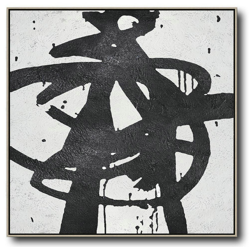Oversized Minimal Black And White Painting,Large Wall Canvas Paintings #P6P7