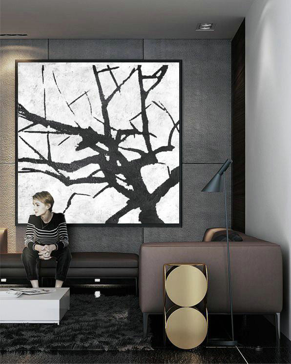 Oversized Minimal Black And White Painting,Big Living Room Decor #F3A0