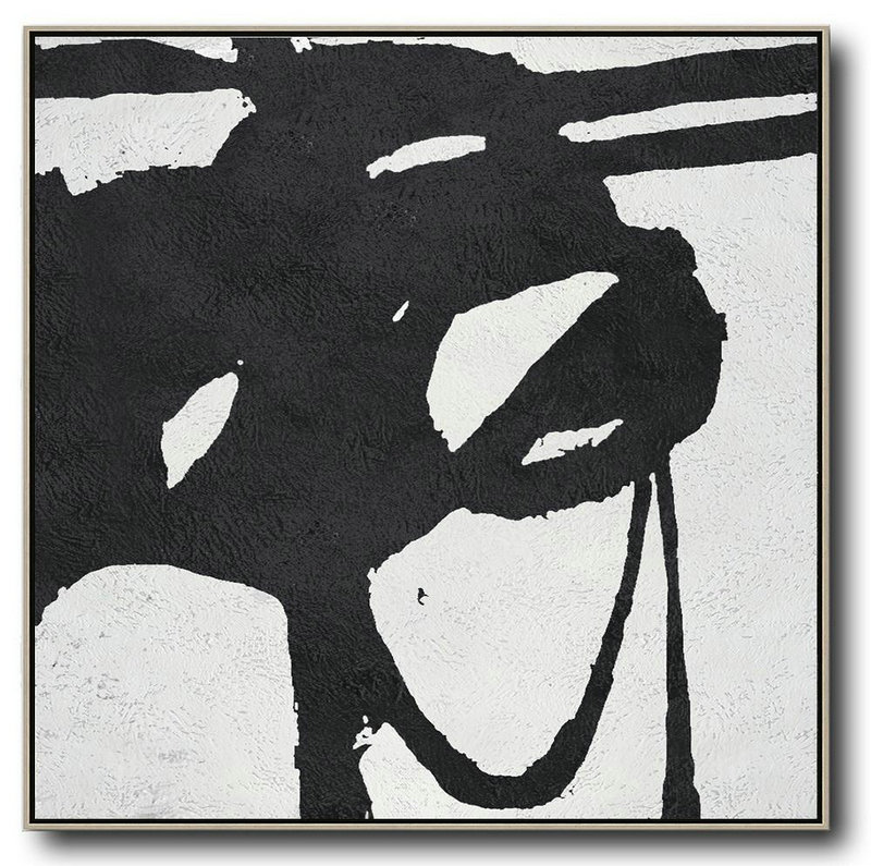 Oversized Minimal Black And White Painting,Oversized Wall Decor #Y2Y3