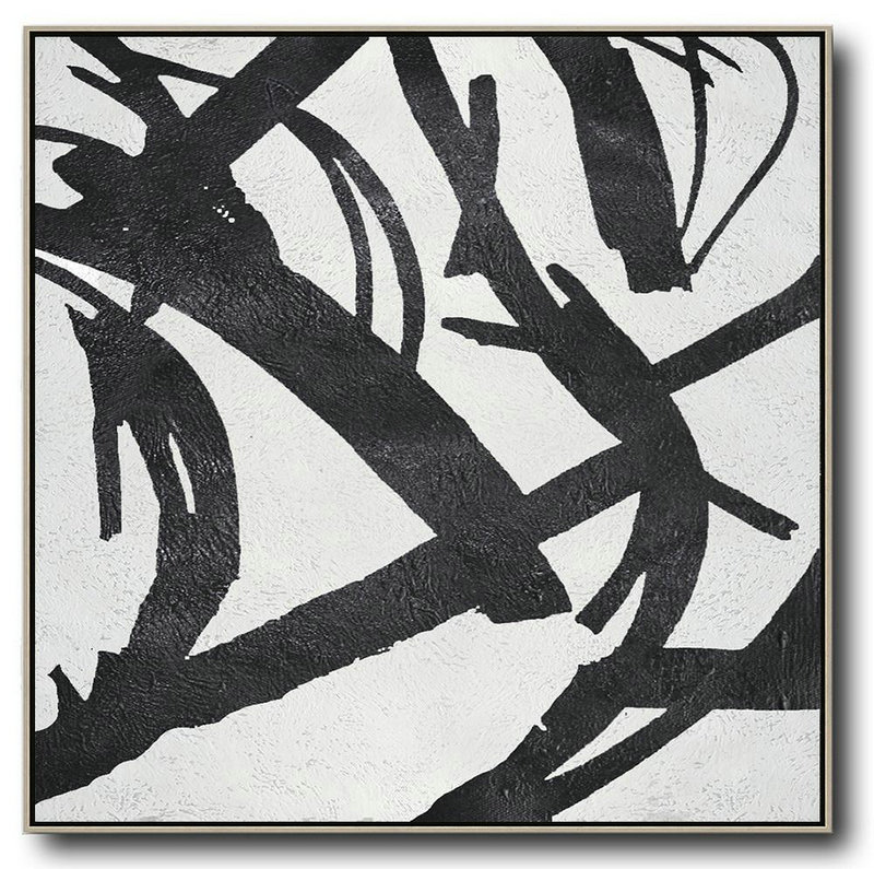 Oversized Minimal Black And White Painting,Big Wall Art For Living Room #I3V1