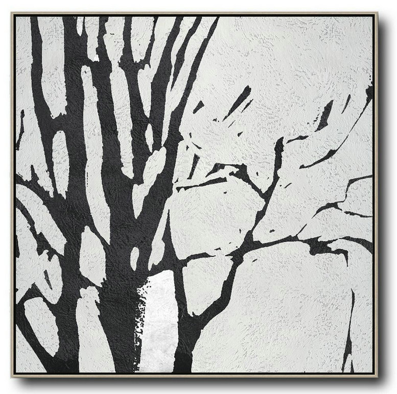 Oversized Minimal Black And White Painting,Large Contemporary Painting #W8D5