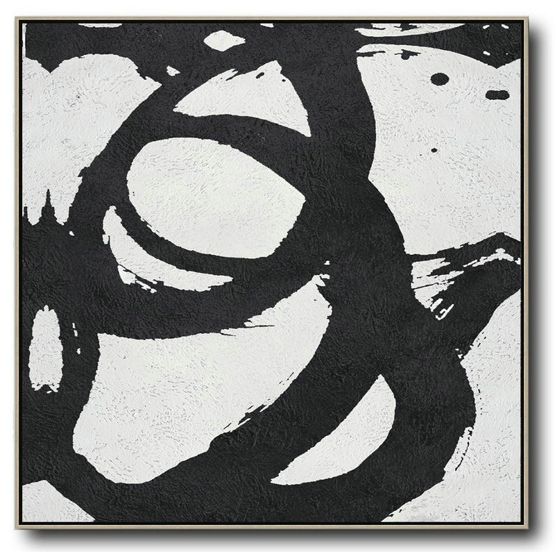 Oversized Minimal Black And White Painting,Hand Painted Canvas Art #U1Q6