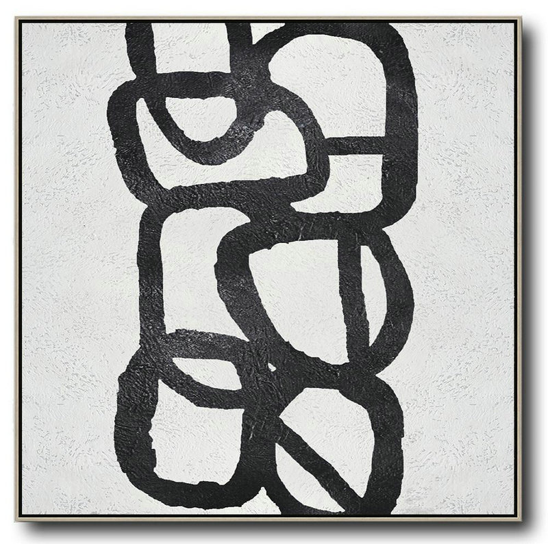 Oversized Minimal Black And White Painting,Contemporary Abstract Painting #T5Q0