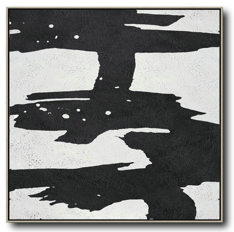 Oversized Minimal Black And White Painting,Original Abstract Art Paintings #K6R2