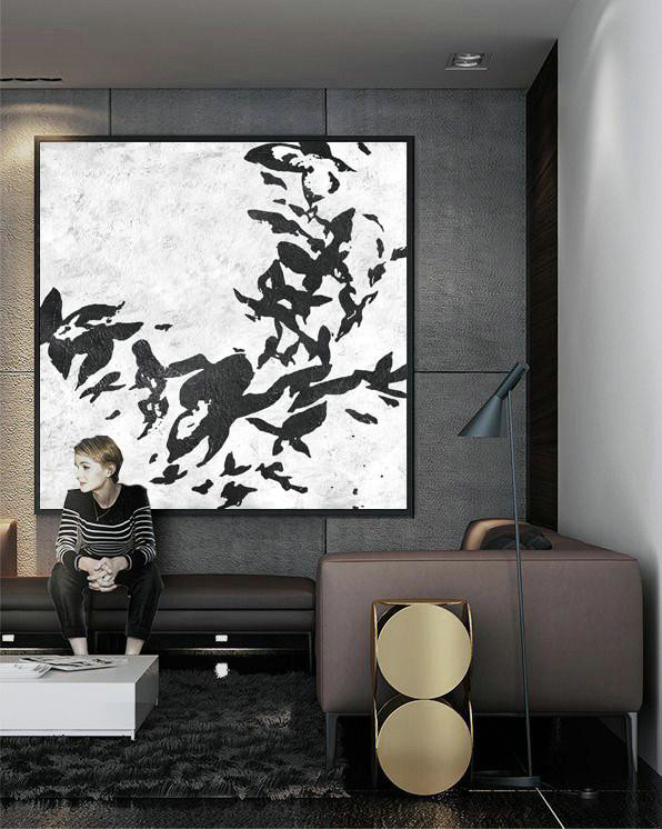 Oversized Minimal Black And White Painting,Multicolor Abstract Painting #H6X1