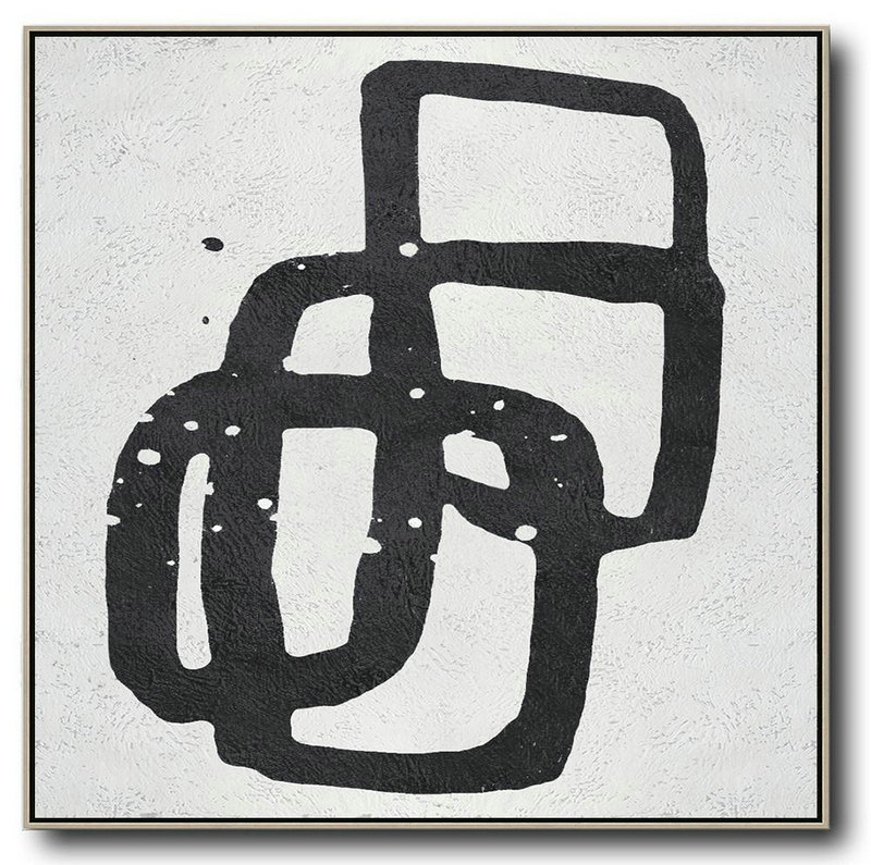 Oversized Minimal Black And White Painting,Abstract Artwork Online #G1N5