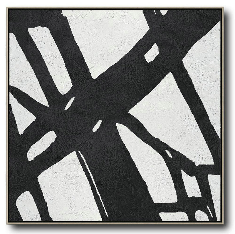 Oversized Minimal Black And White Painting,Abstract Painting For Home #Y2I6