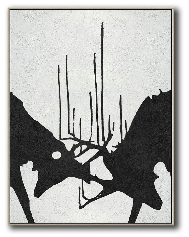 Black And White Minimal Painting On Canvas,Canvas Wall Paintings #H5W8