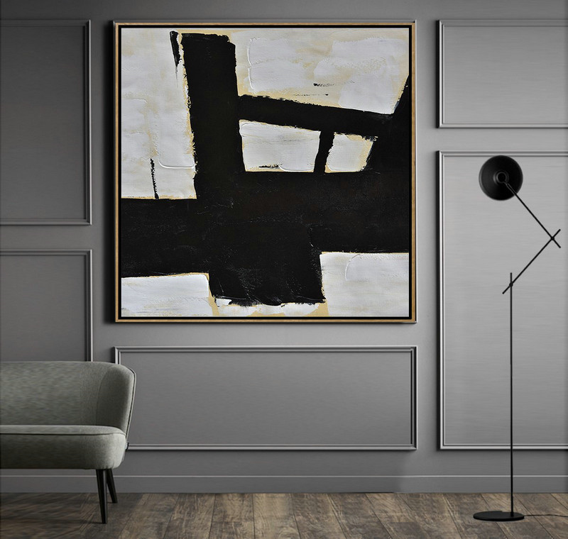 Handmade Minimal Art Palette Knife Canvas Painting, Black White Beige,Abstract Art Decor Large Canvas Painting #H3P3