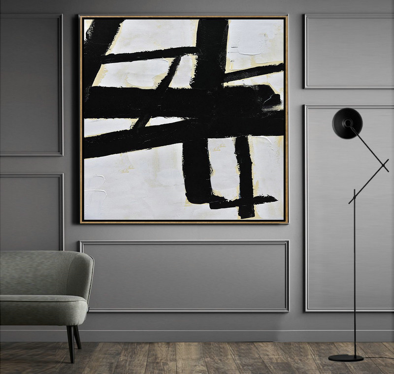 Handmade Minimal Art Palette Knife Canvas Painting, Black White Beige,Large Colorful Wall Art #C3M9