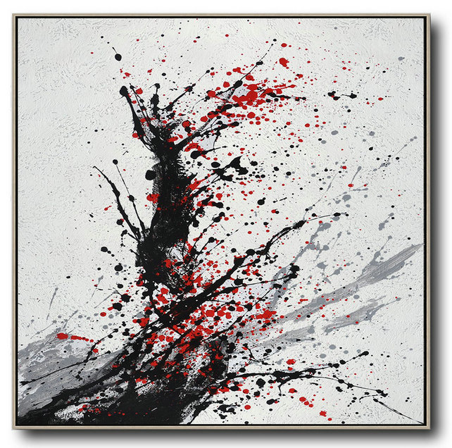 Minimalist Drip Painting On Canvas, Black, White, Grey, Red,Huge Abstract Canvas Art #O2K2
