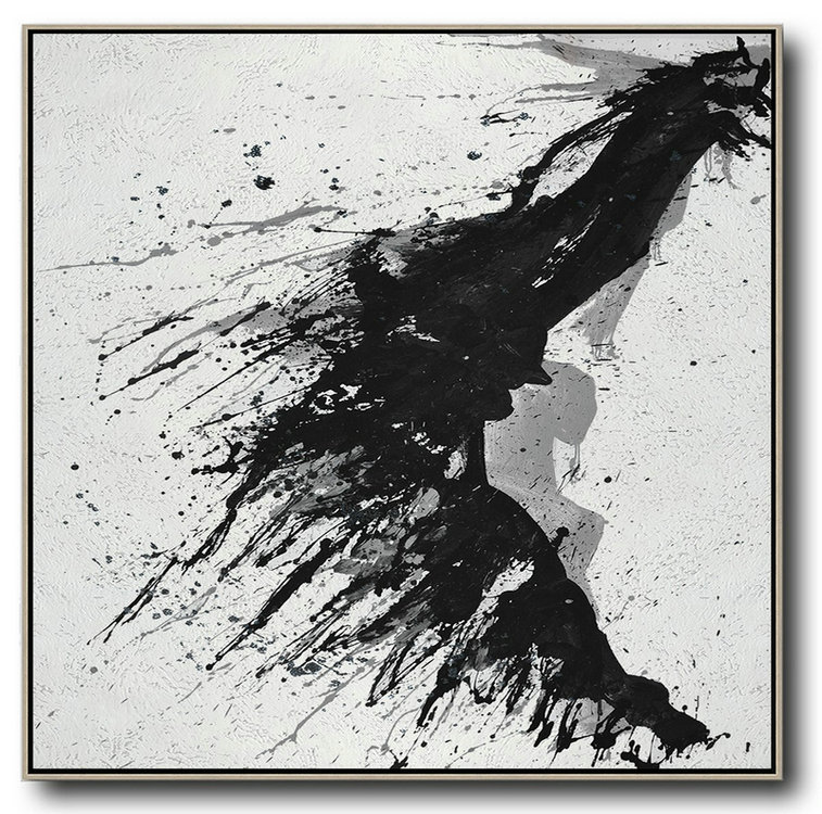 Minimalist Drip Painting On Canvas, Black, White, Grey,Acrylic Painting Canvas Art #P1U3