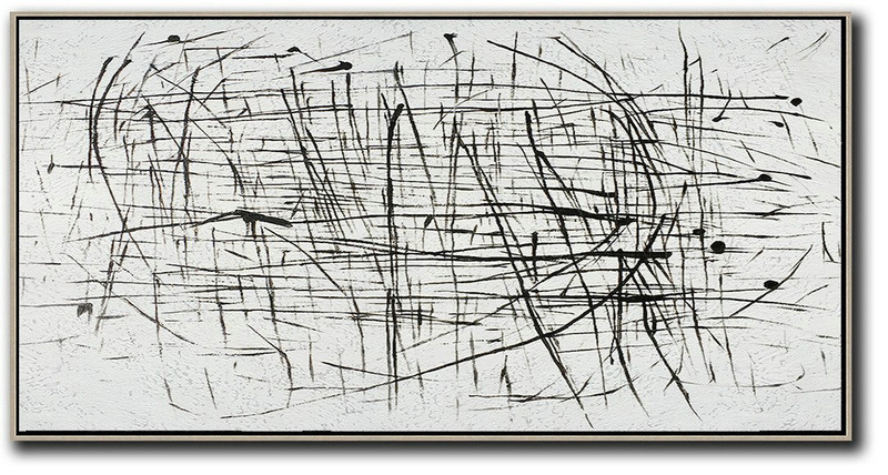 Oversized Panoramic Minimal Art On Canvas,Original Art #L7J0