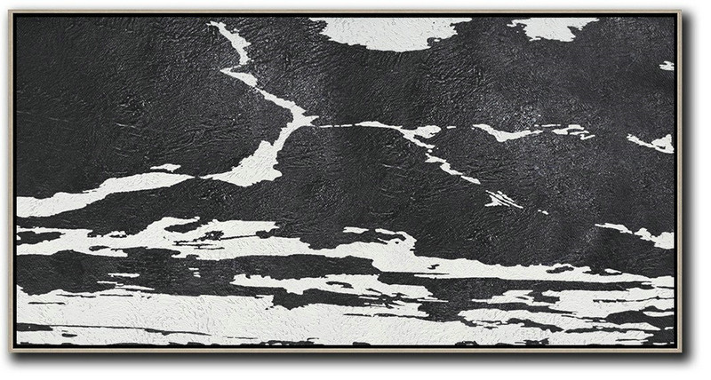 Oversized Horizontal Minimal Art On Canvas,Hand Painted Abstract Art #H8J6