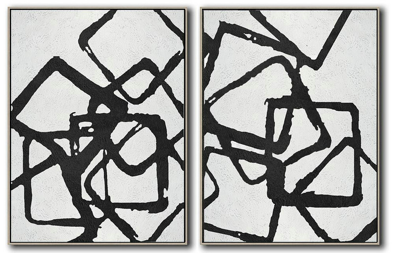 Set Of 2 Minimal Painting On Canvas,Original Art Acrylic Painting #F3D3