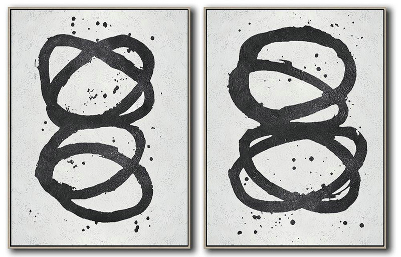 Set Of 2 Minimal Painting On Canvas,Canvas Wall Art #X5H8