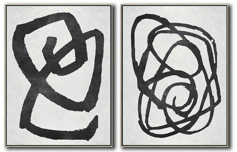 Set Of 2 Minimal Painting On Canvas,Large Abstract Wall Art #Z0E3