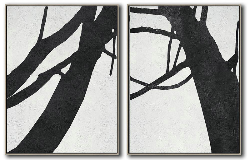 Set Of 2 Minimal Painting On Canvas,Large Wall Canvas Paintings #M3I0