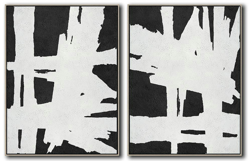 Set Of 2 Minimal Painting On Canvas,Decorating A Big Living Room #M4J7