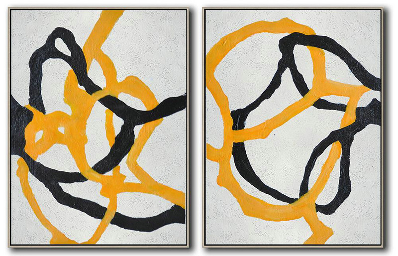 Set Of 2 Minimal Painting On Canvas,Large Contemporary Art Canvas Painting #D5Y4