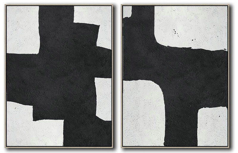 Set Of 2 Minimal Painting On Canvas,Lounge Wall Decor #U3Y2