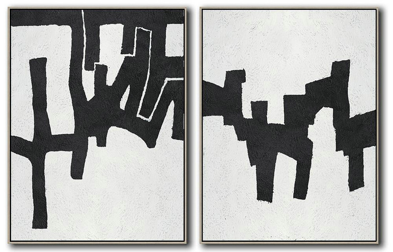 Set Of 2 Minimal Painting On Canvas,Original Abstract Art Paintings #Z2T6