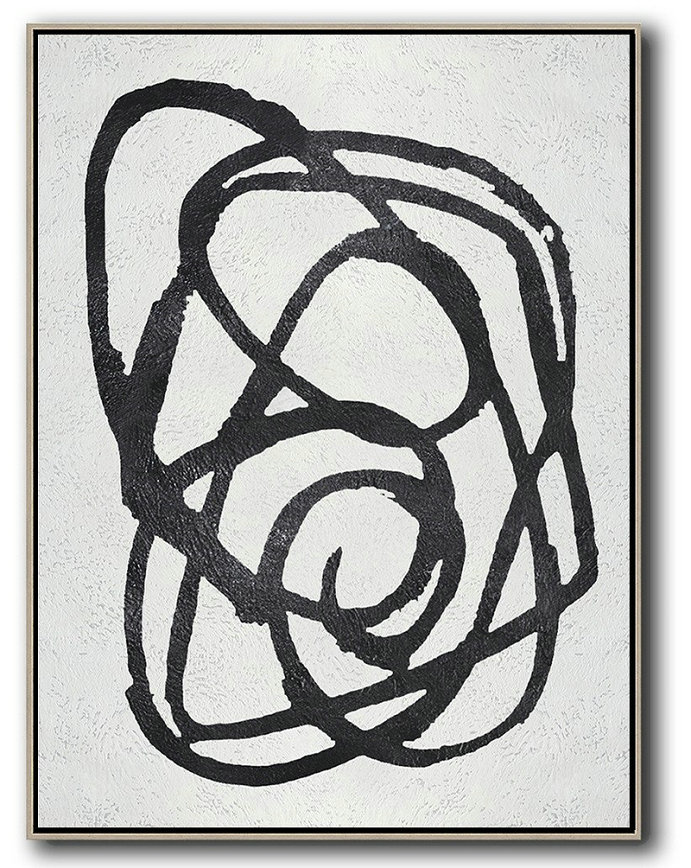 Black And White Minimal Painting On Canvas,Abstract Painting Modern Art #H6F7