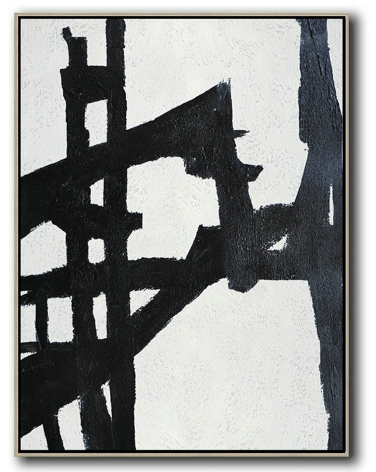 Black And White Minimalist Painting On Canvas,Original Abstract Oil Paintings #M5I2
