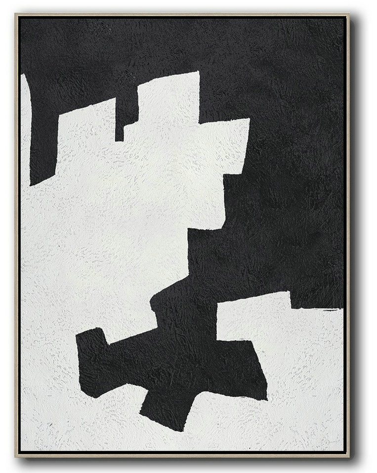 Black And White Minimal Painting On Canvas,Home Canvas Wall Art #U2X0