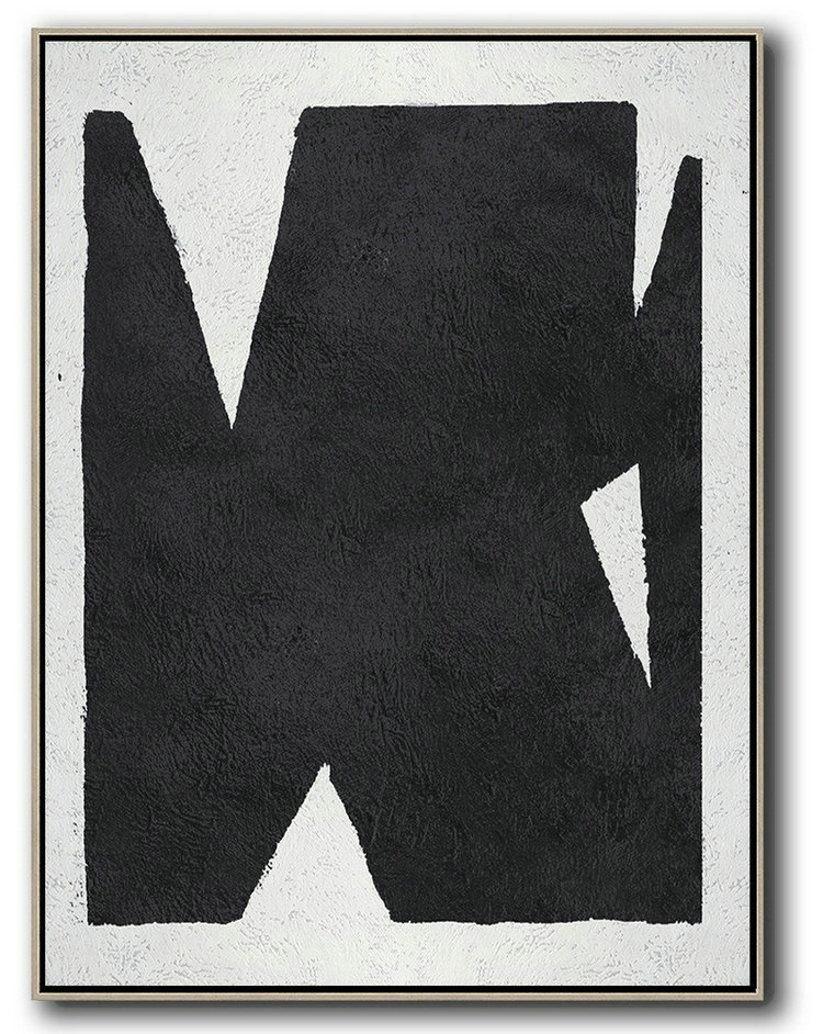 Black And White Minimal Painting On Canvas,Home Decor Canvas #F1Q1