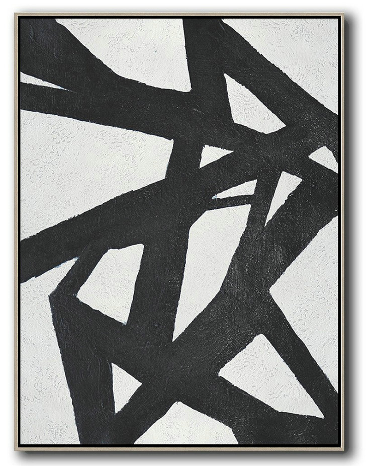 Black And White Minimal Painting On Canvas,Huge Wall Decor #N3W4
