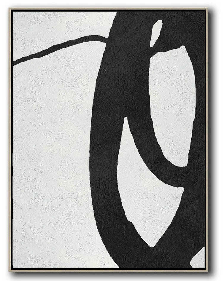 Black And White Minimal Painting On Canvas,Abstract Artwork Online #D0C5