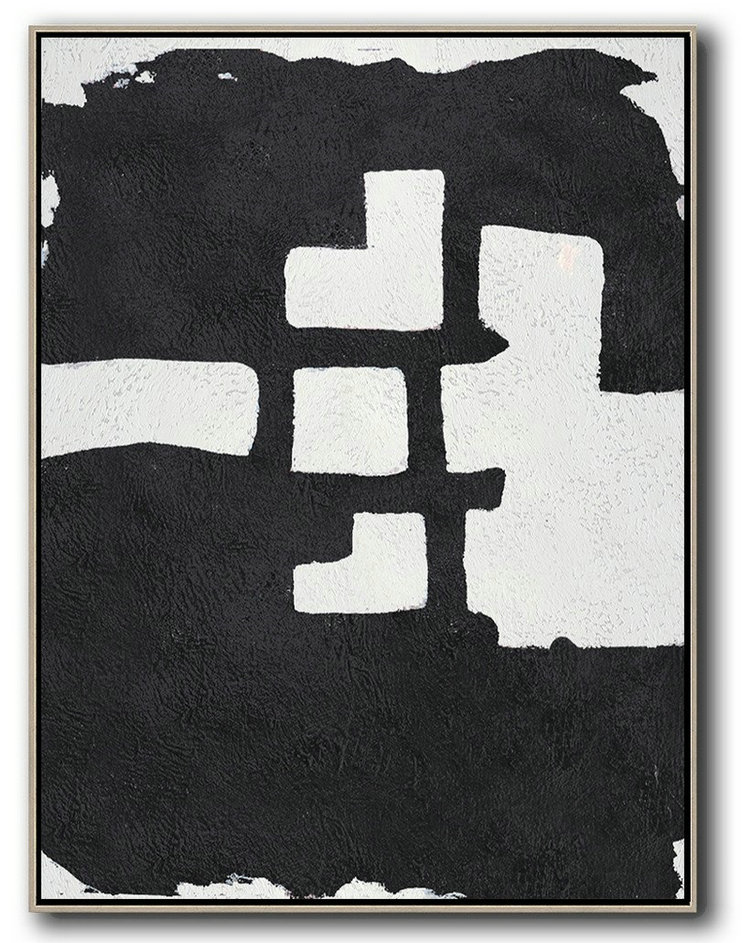 Black And White Minimal Painting On Canvas,Abstract Painting For Home #Y9R5
