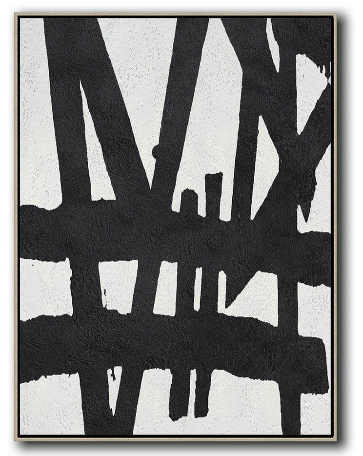 Black And White Minimal Painting On Canvas,Hand Paint Large Clean Modern Art #C4A4