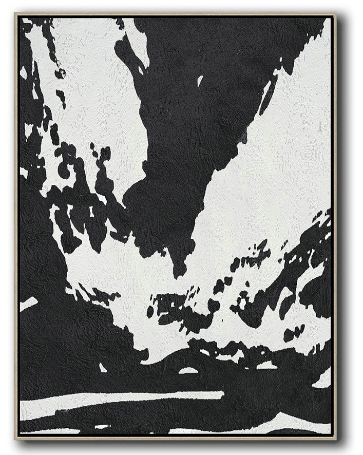 Black And White Minimal Painting On Canvas,Xl Large Canvas Art #N2E1