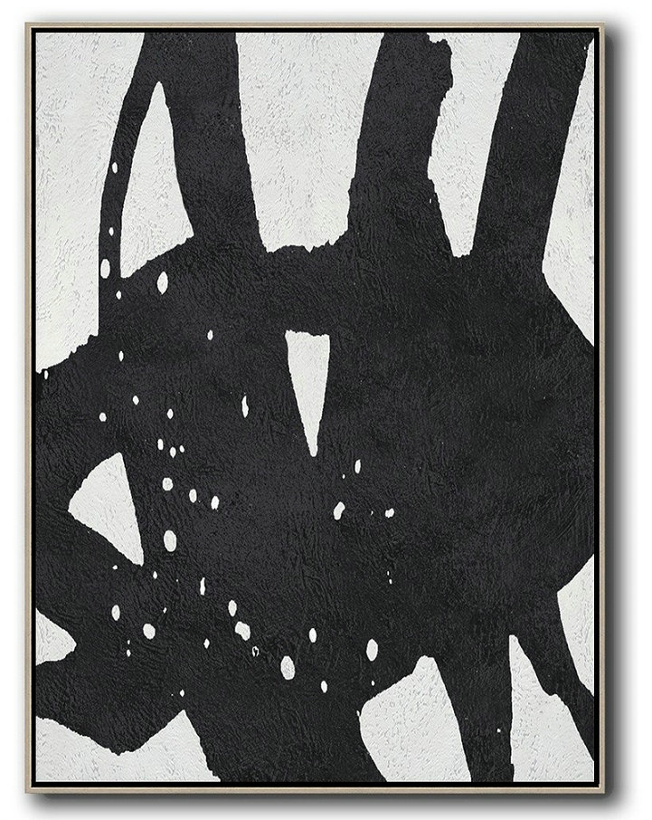 Black And White Minimal Painting On Canvas,Hand Painted Acrylic Painting #K7G5
