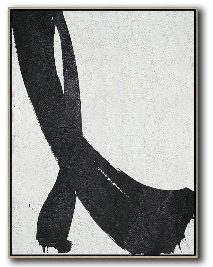 Black And White Minimal Painting On Canvas,Modern Art Abstract Painting #G8I7
