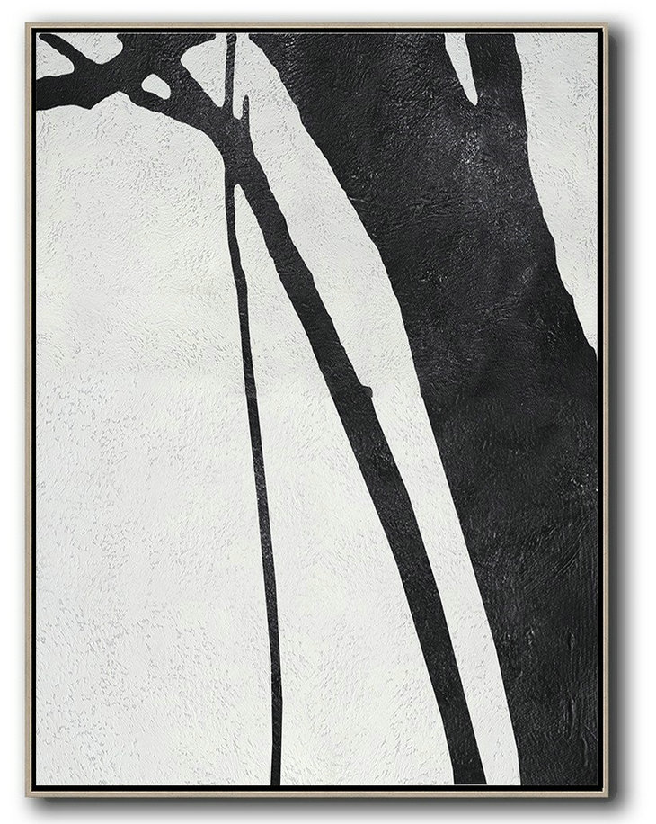 Black And White Minimal Painting On Canvas,Hand-Painted Canvas Art #Z8T0
