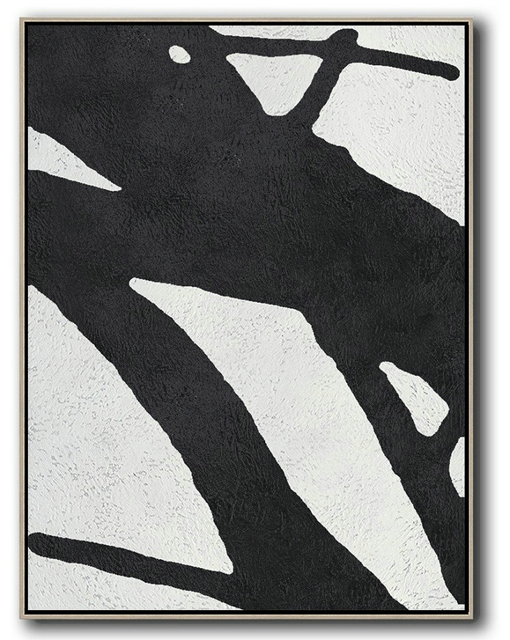 Black And White Minimal Painting On Canvas,Original Abstract Painting Canvas Art #R6Z2