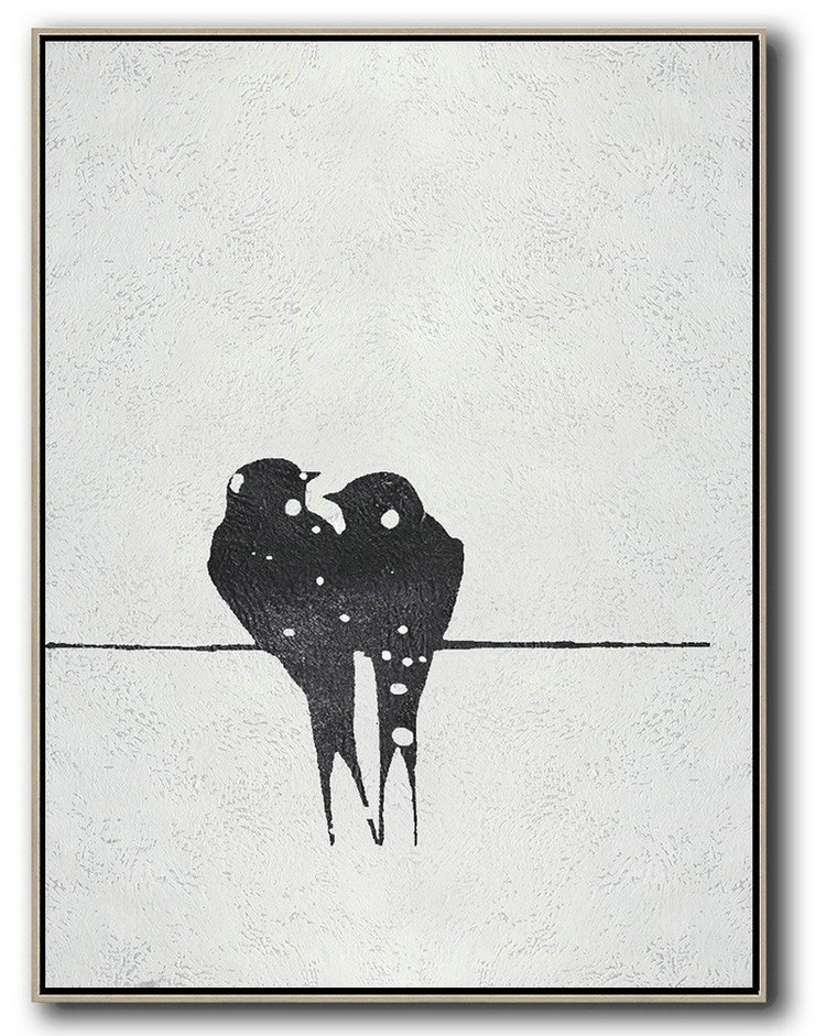 Black And White Minimal Painting On Canvas,Bedroom Wall Decor #O0S0
