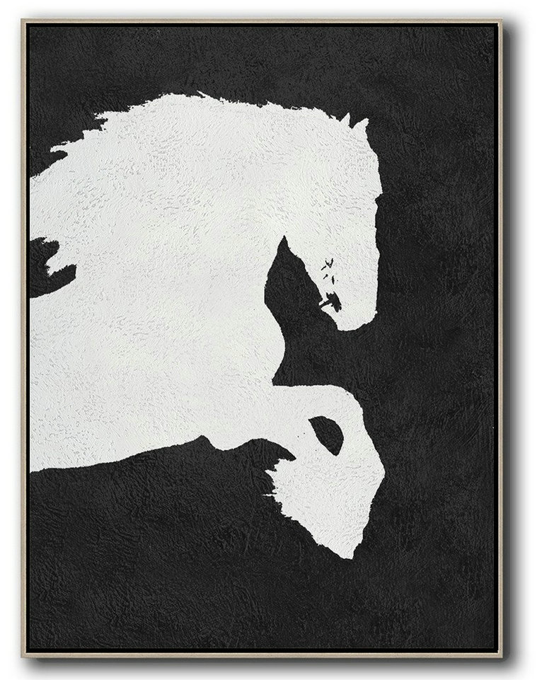 Black And White Minimal Painting On Canvas,Custom Canvas Wall Art #O2A1