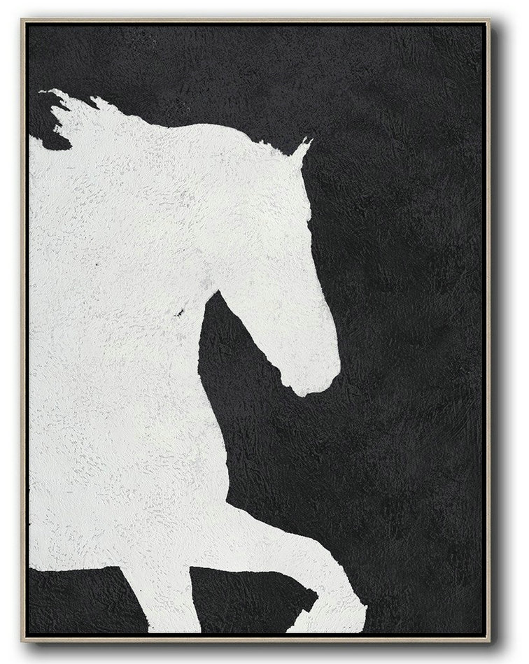 Black And White Minimal Painting On Canvas,Oversized Canvas Art #Y4R9