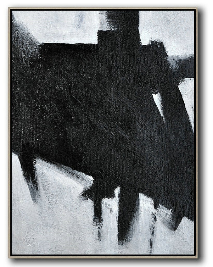 Black And White Minimal Painting On Canvas,Contemporary Art Wall Decor #M4X8